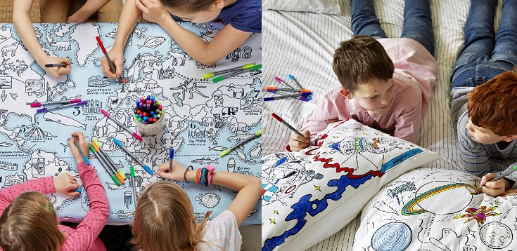 Colour in & Wash Kids Textiles From £12.99